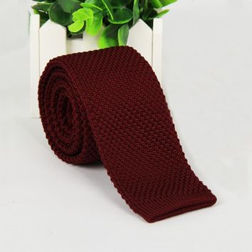 Mantieqingway Fashion Burgundy Neck Tie Wedding Knitted Ties for Men Skinny Ties Man Gravata Polyester Narrow Knitted Neckties