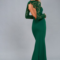 Whenever You Call Forest Green Lace Maxi Dress