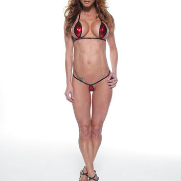 Solid Red Foil Sexy Mini Teardrop Micro G-String Bikini 2 Piece Thong and Top Minimal Coverage Swimwear Extreme Barely There w/ Black String