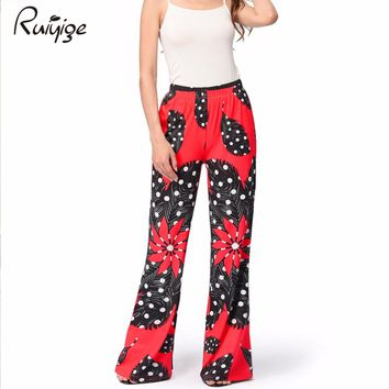 2017 Flare Long Pants Women High Waist Bohemian Boho Pantalon Ethnic Print Vintage Retro Big Size Rockabilly Loose Work Trousers