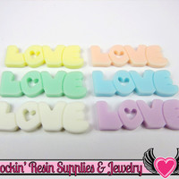 8 pc Pastel Heart Love Decoden Flatback Resin Cabochons 40x13mm