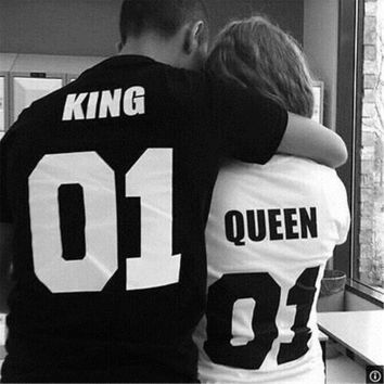 Couple T Shirt King 01 And Queen 01   Love Matching Shirts   Couple Tee Tops Hot