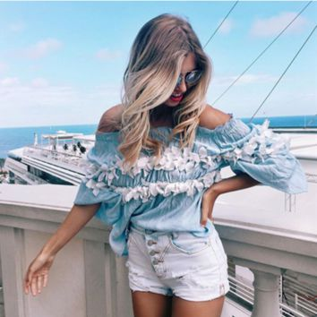 Floral mosaic word shoulder chest wrapped half sleeve T-shirt