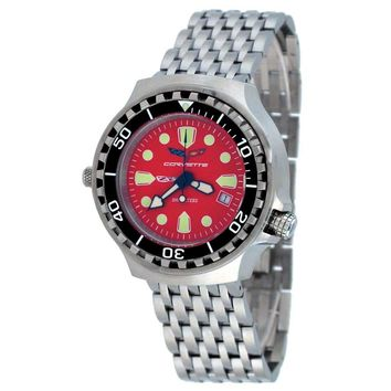 Corvette CR285RD Men's Z06 Collection Stainless Steel Red Dial Swiss Dive Watch