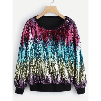 Contrast Sequin Round Neck Sweatshirt