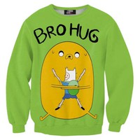 Adventure Time Jake and Finn Bro Hug All Over Print Crew Neck Pullover Sweater in Green | DOTOLY