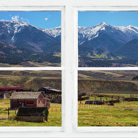 Colorado Cattle Ranch Whitewash Picture Window View Art