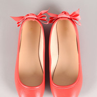 Ribbon Bow Leatherette Round Toe Ballet Flat