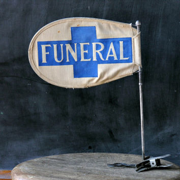 Funeral Flag Hearse Procession Clip On Banner Postmortem