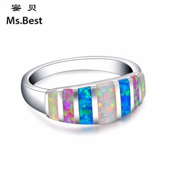 Colorful stone opal rings for women mood fashion silver jewelry trendy new arrivals size 5 to 11 party girls finger rings