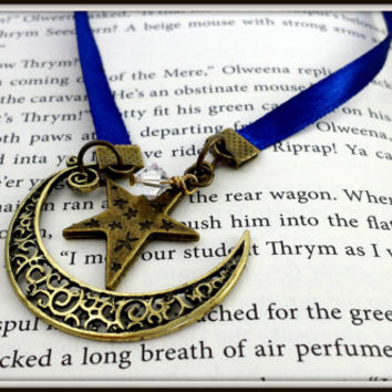 Moon Bookmark, Star Bookmark, Crescent Moon Charm, Bronze Moon, Bronze Star, Blue Ribbon, Ribbon Bookmark, Space Bookmark, Filigree Moon