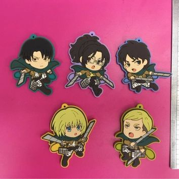Cool Attack on Titan 5 Pcs/set Anime  pvc figure Rubber phone strap/Keychain pendant toys for gifts AT_90_11