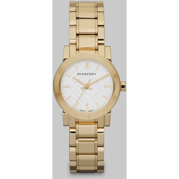 Burberry Ladies Swiss The City Gold-Tone Stainless Steel Bracelet Watch BU9227