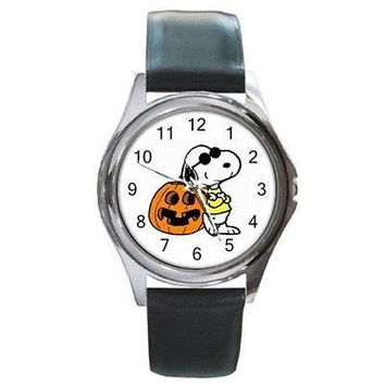 Halloween, Snoopy in a Mask  & Jack O' Lantern on a Watch with Leather