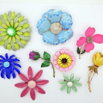 Enamel Flower Lot, 9 pins, Flower Brooches