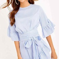 Women Work Preppy  Asymmetrical Sashes Sexy Boho A Line Ruffles Dresses