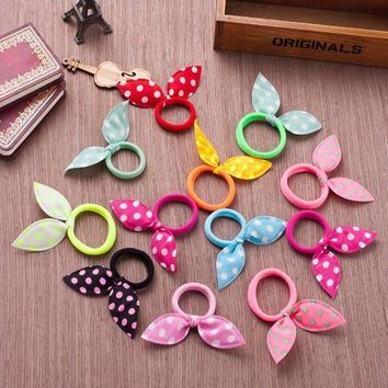 10Pcs Girls Hair Accessories Ribbon Dot Gum Headband Hair Ornaments Elastic Ring Hair Bands Rubber Rope Scrunchy Braiding Tools