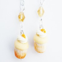 Orange Creamsicle Cupcakes Dangle Earrings