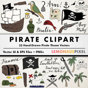 Pirate Clipart - Pirate party decorations, instant download, pirate clip art, party theme, pirate vector, pirate ship, commercial use