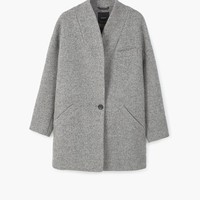 Cocoon wool-blend coat - Woman | MANGO United Kingdom