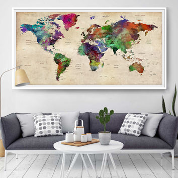 Giant world map decorative push pin, Large world travel wall map, personalized map wall art print poster - Home & Office Art Decor (L77)