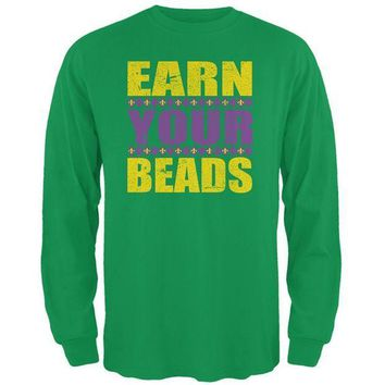PEAPGQ9 Mardi Gras Earn Your Beads Funny Mens Long Sleeve T Shirt
