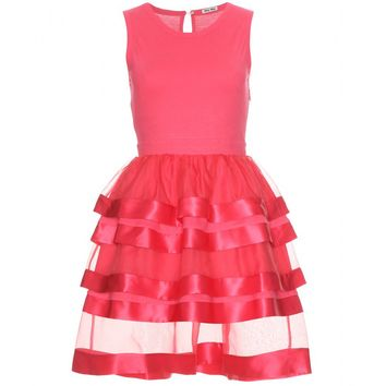 mytheresa.com -  Miu Miu - COTTON AND SILK TIERED DRESS - Luxury Fashion for Women / Designer clothing, shoes, bags