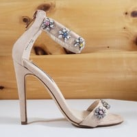 Suzzy 52 Nude Jeweled Flower Detailed High Heel Sandal Shoe - 4.25' Heels