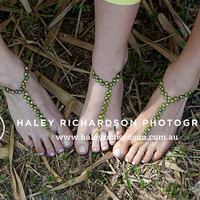 Green Freshwater Pearl Barefoot Sandals, Anklet, Foot Jewelry, Wedding Foot Jewelry