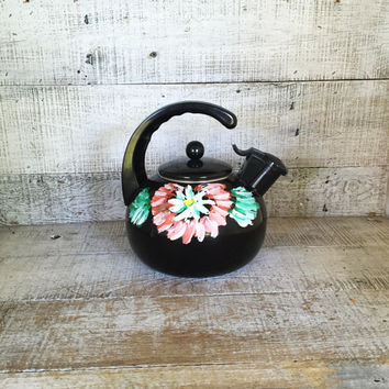Enamel Tea Kettle Hand Painted Black Teapot with Resin Handle Whistling Tea Kettle Mid Century Black Floral Tea Kettle Farmhouse Chic