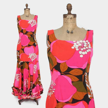 Vintage 60s HAWAIIAN DRESS / 1960s Bright Pink Cotton Mermaid Ruffle Hem Maxi Sun Dress M