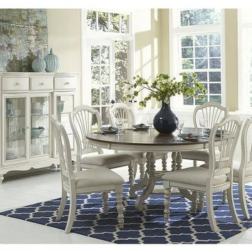 5265 Pine Island Round Dining Set With Wheat Back Chairs - 7 PC