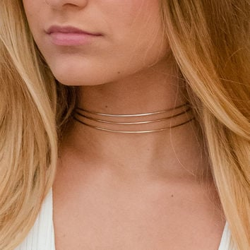 Gold Choker/ Thin Gold Collar/ CZ Chain Choker/ Choker Set/ Boho Necklace/ Thin Wire Necklace/ Delicate gold Choker