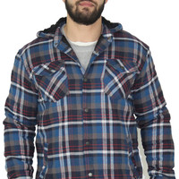 Burnside Men's Flannel Sherpa Button Up Hoodie Sweatshirt Slim Fit
