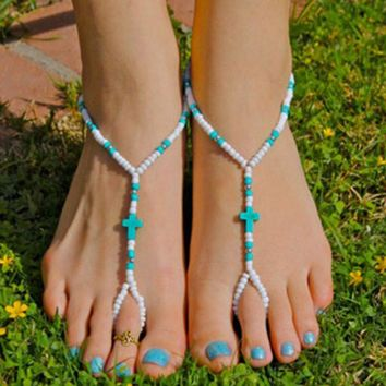 Bohemian Turquoise Cross Beads Handmade Beaded Anklet Foot Toe Chain New