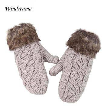 Windreama New lovely lady winter pure manual weaving warm feather fashion hang neck wool gloves