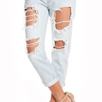 DESTROYED BOYFRIEND DENIM JEANS - LIGHT