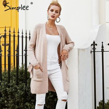Simplee Casual gray pocket knitted long cardigan Batwing sleeve side split jumper 2018 Autumn winter women sweater cardigan
