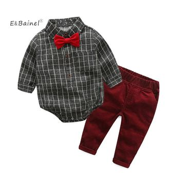 E&Bainel 2017 Hot Baby Boy Clothes Set 2pcs/set Plaid Baby Romper+ Wine Red Pant Newborn Baby Boy Clothing Red Bow Tie