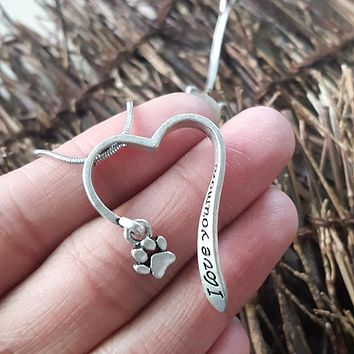 Lovely animal necklace Cute Pet Memorial i love you more dog animal Paw Necklace