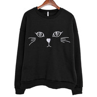 Loose Embroidery Cat Print Round Neck Long Sleeve Sweatshirt