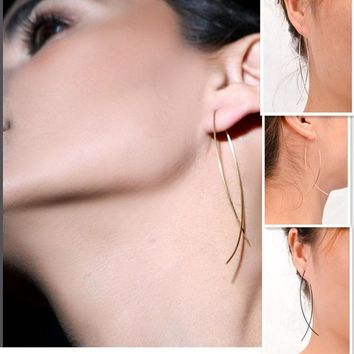 Gold Silver Black Long Chain Ear Threader Earrings