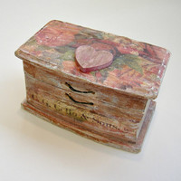 Floral Small Ring Box / Wedding Ring Box / Ring Bearer Box / Vintage Style Ring Box