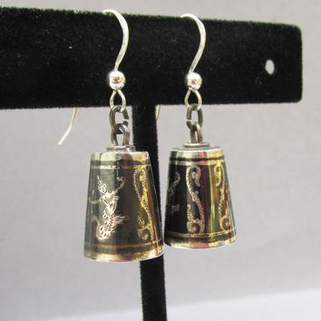 Vintage SIAM Dancer Goddess Niello Dangle BELL Earrings, Converted To Pierced