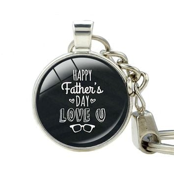 I Love Daddy Happy Father's Day keychain Dad You Are The Best Keychains Handmade Silver Plated Keychain for Keys