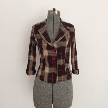 1990's Cher Horowitz Brown Plaid Cropped Blazer  (Vintage)
