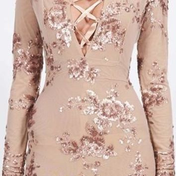 City Strut Beige Gold Floral Sequin Long Sleeve Deep V Neck Lace Up Bodycon Mini Dress