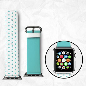 Handmade Apple Watch Strap 38/42mm - Blue Dots (BBSW005)