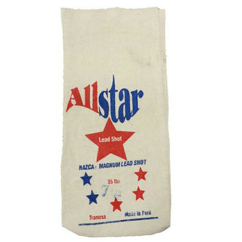Canvas Lead Shot Bag, Fabric, All Star, Man Cave, Bar Decor, Game Room, Hunting,Magnum Lead Shot,Red White Blue,Craft, Upholstery, Textile
