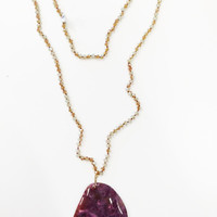 Pink Stone Slab Necklace
